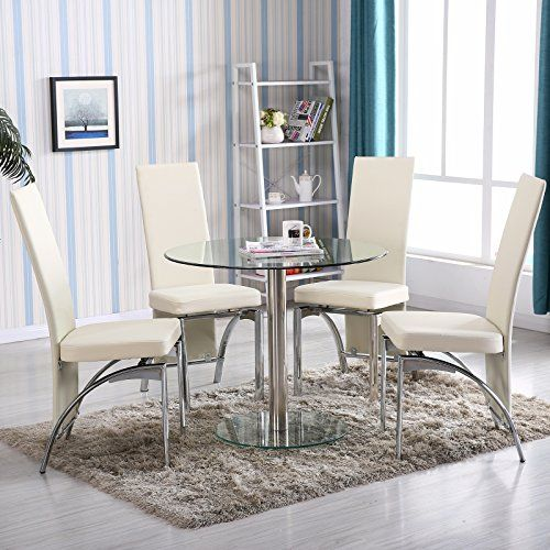 4Family 5 PC Round Glass Dining Table Set with 4 Chairs Kitchen