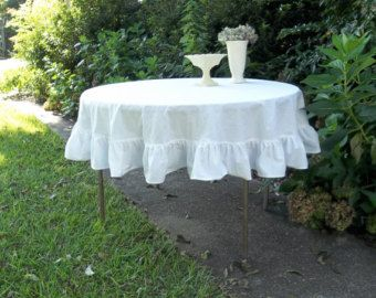 Ruffled Linen Tablecloth White Ruffled Tablecloth Custom Sizes Wedding  Decorations Table Decor Ruffled Tablecloth Linen Table Cloth Handmade