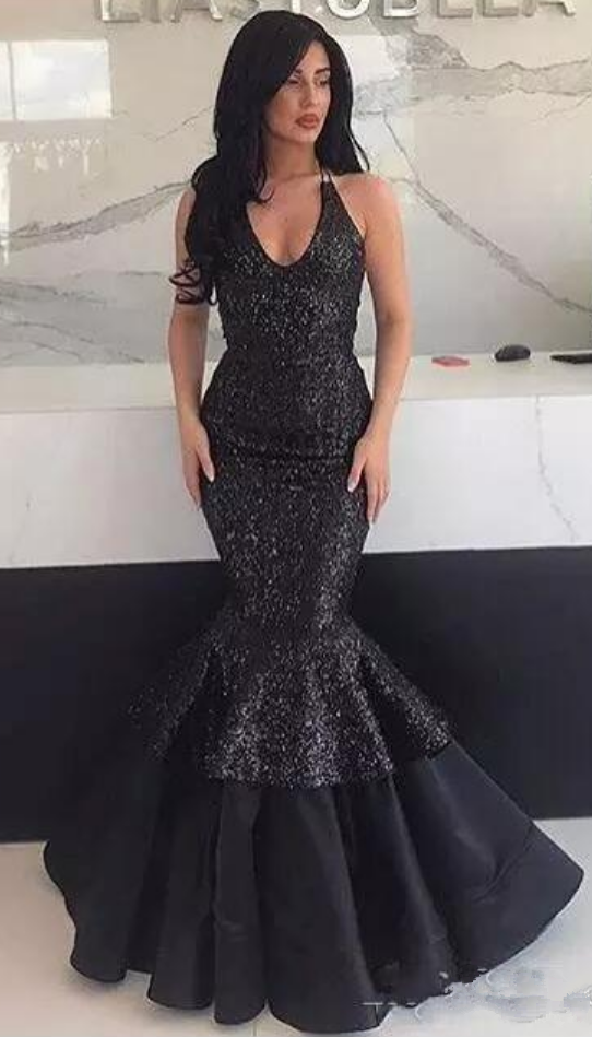 577d6d638a7f5 Prom Dresses,Bling Sequined Black Mermaid Prom Dresses Sexy Halter ...