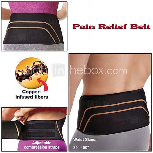 L Size Copper Fit Back Pro Support Lower Back Spine Pain Relief Belt Lumbar - USD $13.29