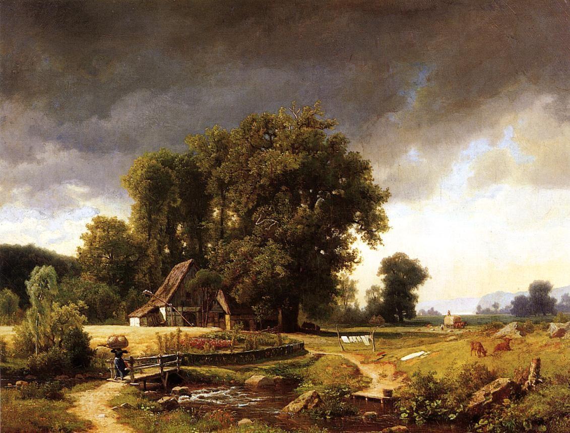 Westphalian Landscape 1855 Famous Landscape Paintings Landscape Painting Artists Albert Bierstadt Paintings