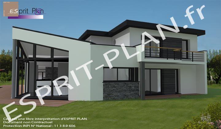 Style moderne-Maison style contemporaine brique rouge-Maison - plan maison terrain pente