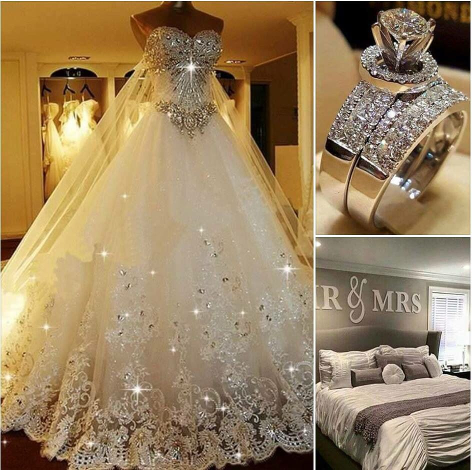 Beautiful Wedding Dress Ring And Marriage Bed With Added Home