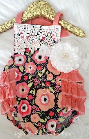 d8b846bcf7f Kryssi Kouture Black with Big Coral Peach Flower Ruffle Romper - Lace Baby  Romper - Ruffle Butt Romper - Baby Girl Fashion Romper