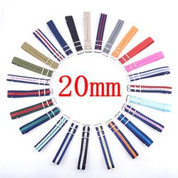 20MM Nylon Woven Watchband With Steel Buckle Waterproof Straps Sport Wrist NATO Watch Band Multi Color For Choose Free Shipping
