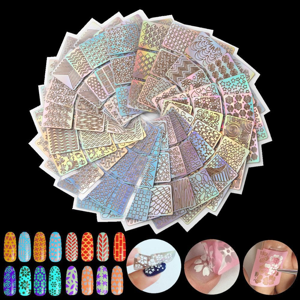 24 Sheetset Nail Art Hollow Laser Stickers Stencil Gel Polish Tip
