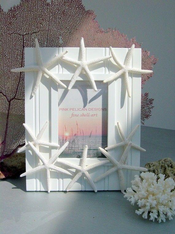 Beach Decor Starfish Frame, Dancing Starfish White Beadboard frame ...