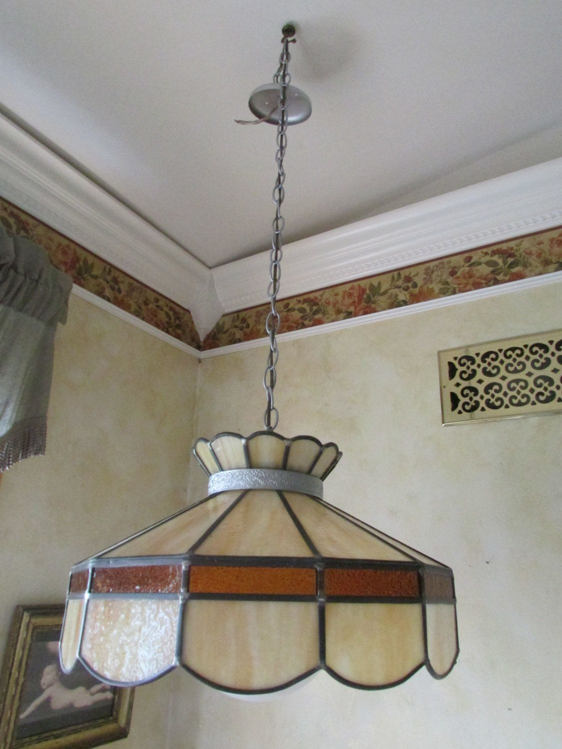 Vintage Stained Glass Light, Hanging Stain Glass Lamp ...
