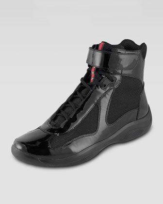 Prada Hi-Top Patent Sneaker, Black