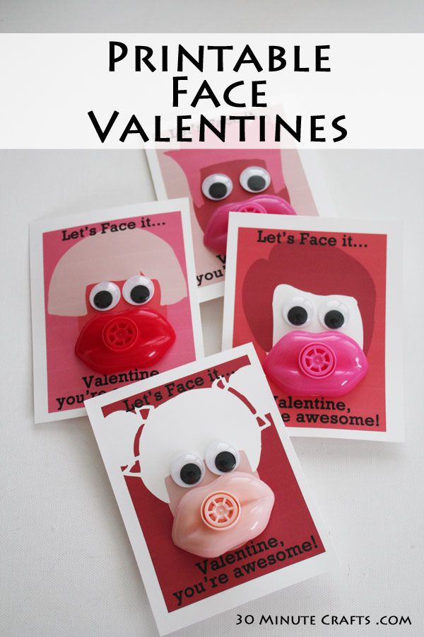 make your own face valentines by printing and assembling these with