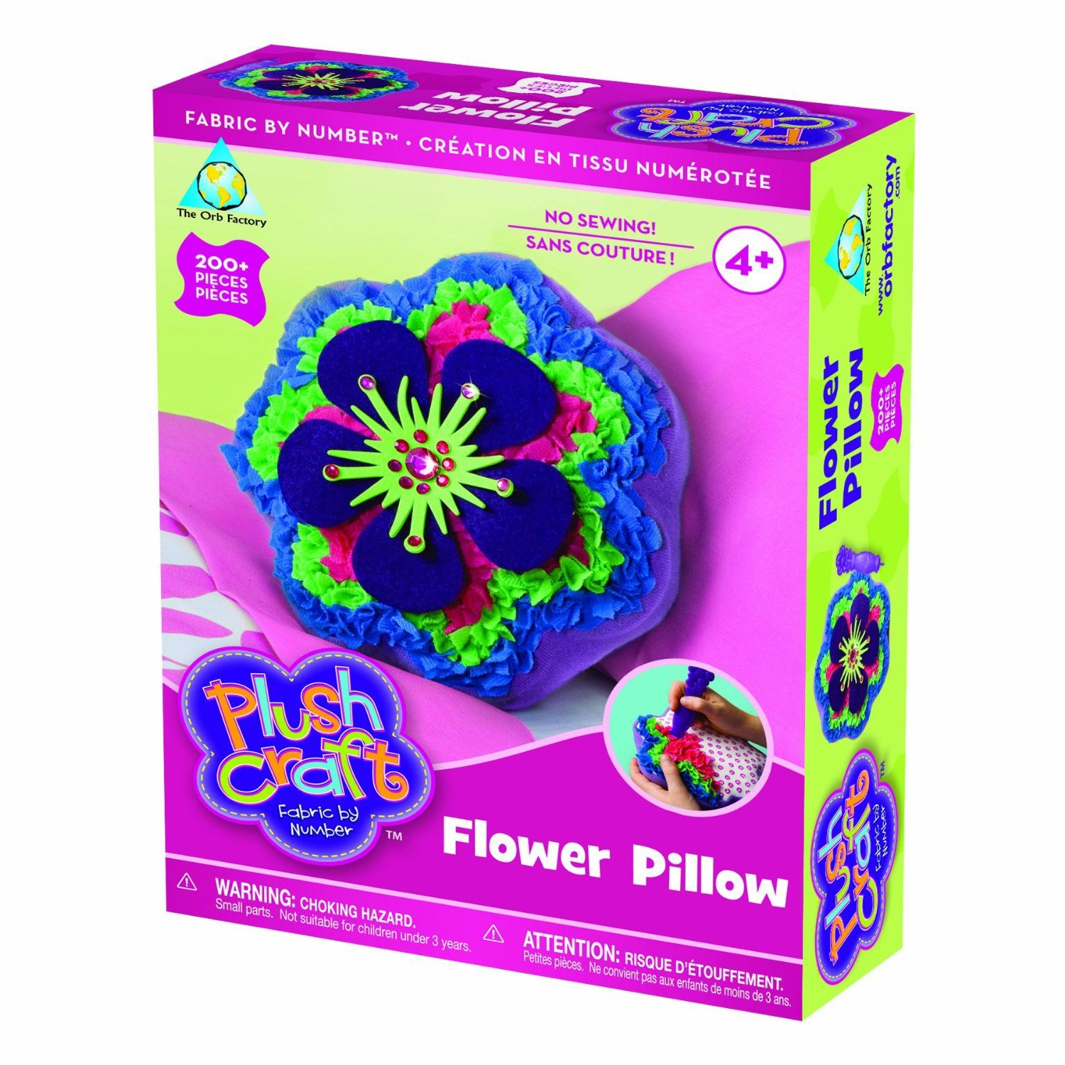 The Orb Factory Limited Plush Craft Flower Pillow 1 Flower Pillow 1 Stylus 200 Fabric Pieces 1 Button Connecto Plush Craft Flower Pillow Flower Crafts