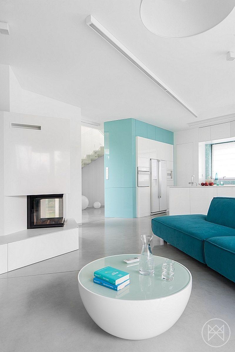 Home interior angles minimalist home uses aqua to accent angles  freshome