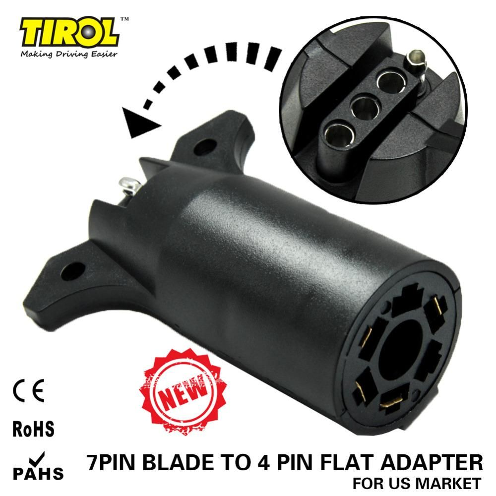 tirol 7 way blade to 4 way pin flat trailer wiring adapter trailer light plug connector [ 1000 x 1000 Pixel ]