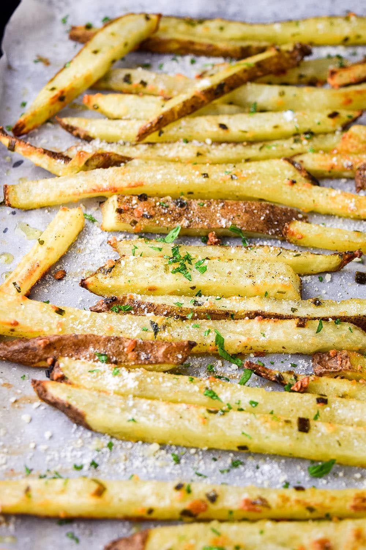 Baked Parmesan Truffle Fries Recipe Recipe Recipes Parmesan Truffle Fries Truffle Fries