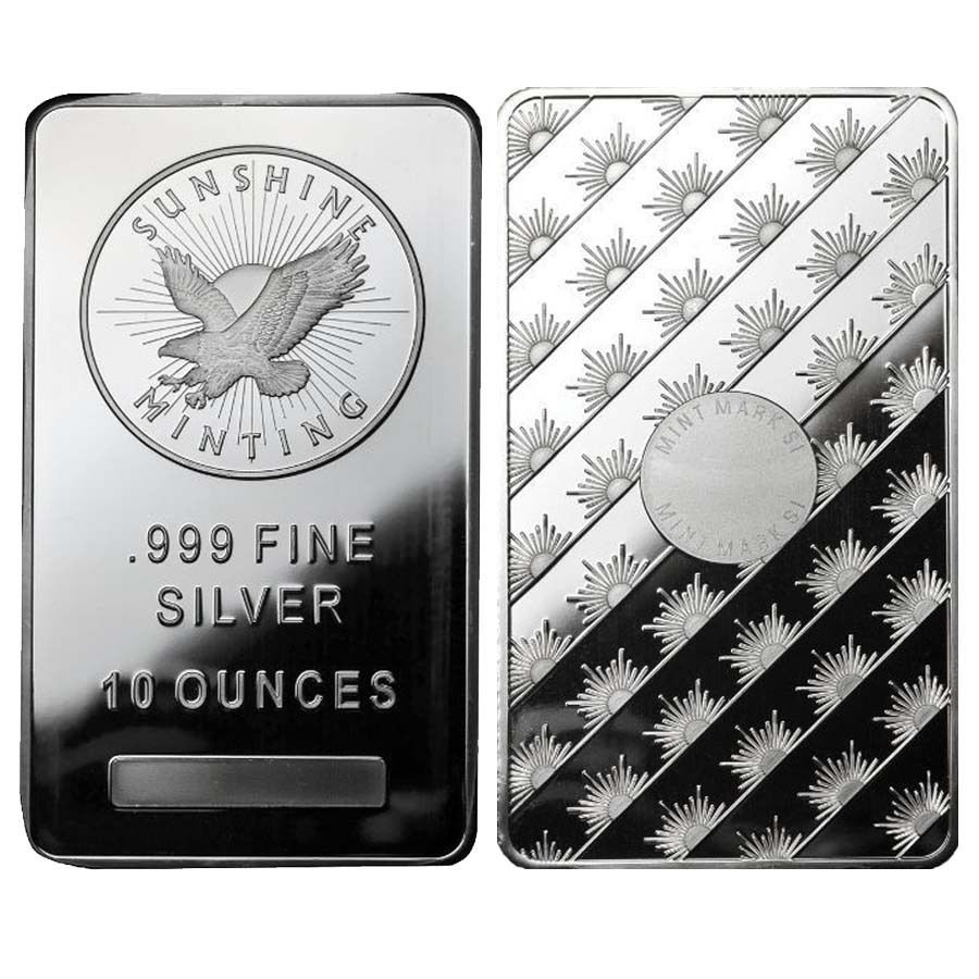 Lot Of 2 10 Oz Sunshine Mint Silver Bar 999 Fine Sealed Silver Bars Silver Fine Silver