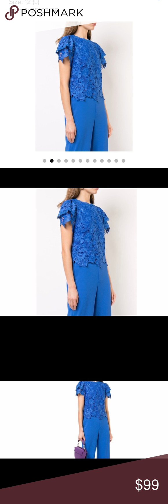 Alice Olivia New Blue Floral Lace Blouse Floral Lace Blouse Lace Blouse Floral Lace Tops