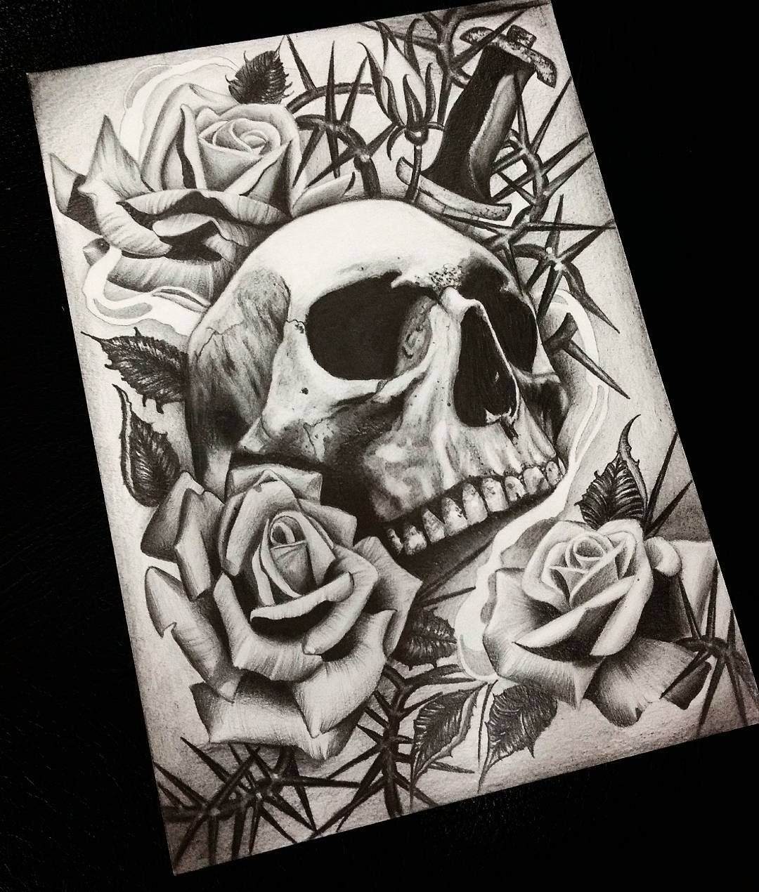 Skull and roses blasesacktattoos drawing Dibujos a