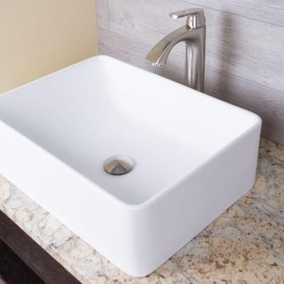 master bath option-Vigo Caladesi Top Mount Matte Stone Rectangular Vessel Sink in White-VG04005 - The Home Depot