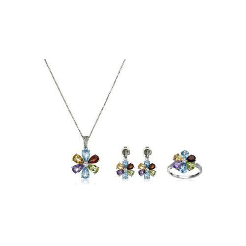 Sterling Silver Mixed Semi-Precious Gemstone and Diamond Pendant Necklace, Ring and Earrings Jewelry Set - $62.77