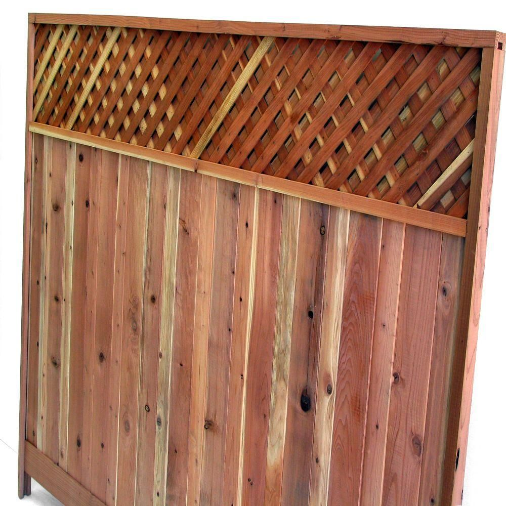 Mendocino Forest Products 6 Ft H X 8 Ft W Redwood Lattice Top Fence Panel 01337 The Home Depot Fence With Lattice Top Fence Panels Fence Design