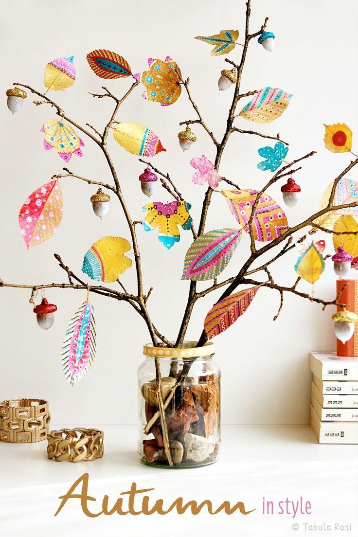 herbstdeko mit bunten bl ttern kids crafts pinterest herbstdeko bunt und herbst. Black Bedroom Furniture Sets. Home Design Ideas
