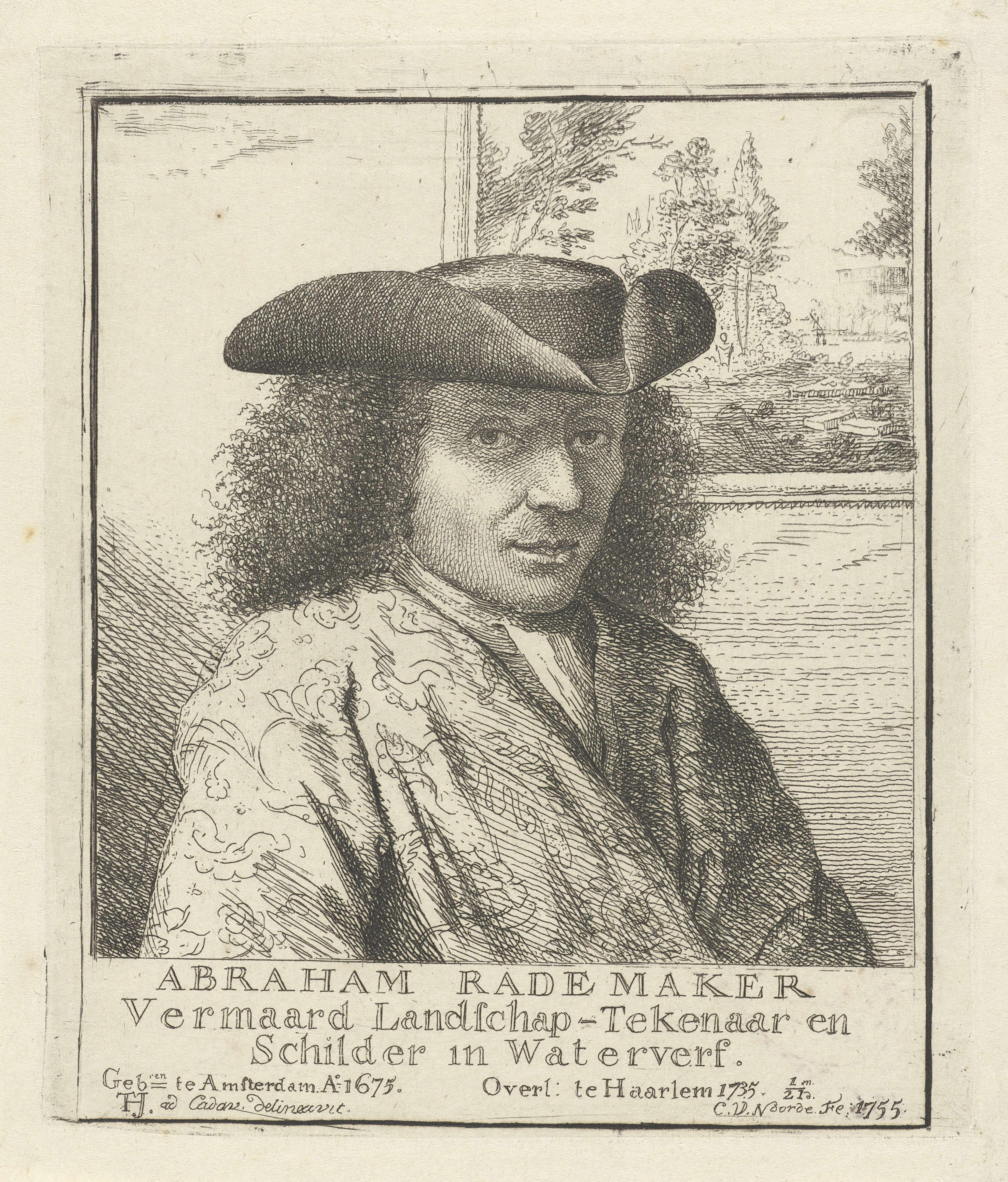 Cornelis van Noorde | Portret van Abraham Rademaker, Cornelis van Noorde, 1755 | Portret van kunstenaar Abraham Rademaker. Achter aan de muur hangt een schilderij van een landschap.