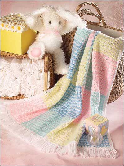 Knitting - Children's Corner - Baby Knitting Patterns - Gingham Blocks Crib Afghan - #FK00341