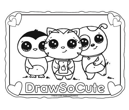 Hi Draw So Cute Fans Get Your FREE Coloring Pages Of My Characters Here Click On The Image To Save And Print Files Are In PDF Format