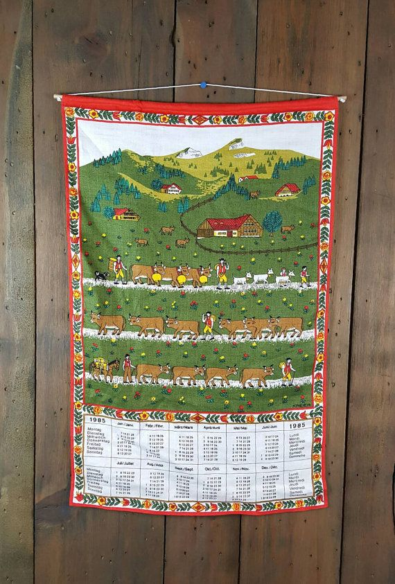 Vintage Linen Dish Towel 1985 Calendar By Greenleavesboutique