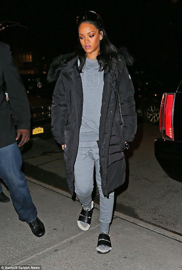 Risk taker: Rihanna sported socks and sandals during an outing in New York City on Sunday...