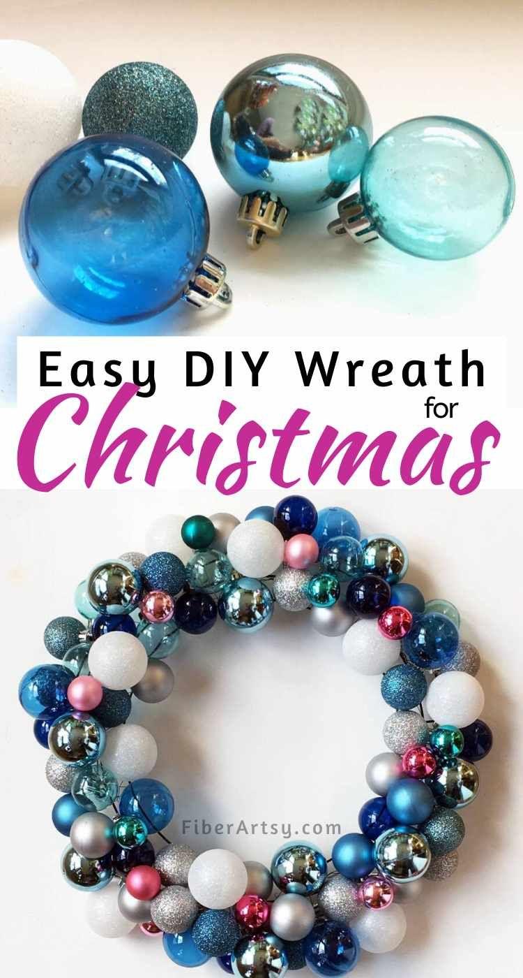 DIY Christmas Wreath with Ball Ornaments | Christmas diy, Christmas wreaths, How to make wreaths
