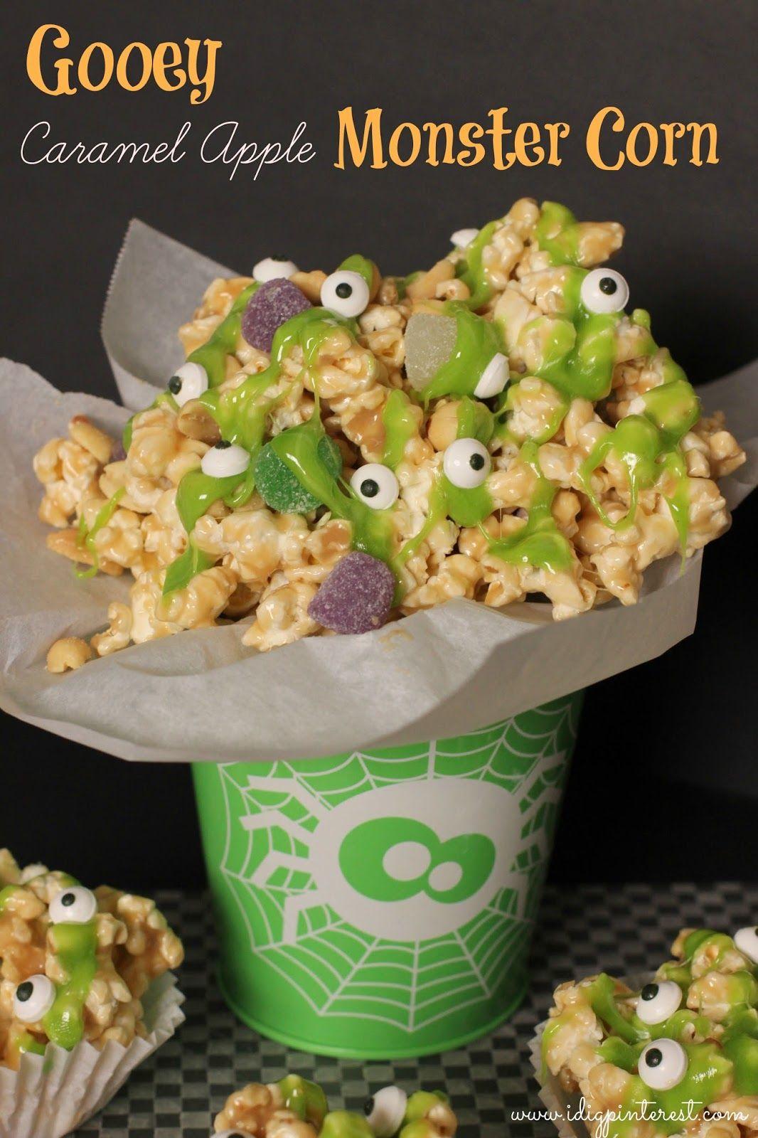 Gooey Caramel Apple Monster Corn from I Dig Pinterest