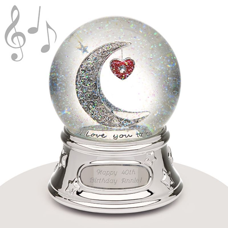 Love you to the moon and back picture globe