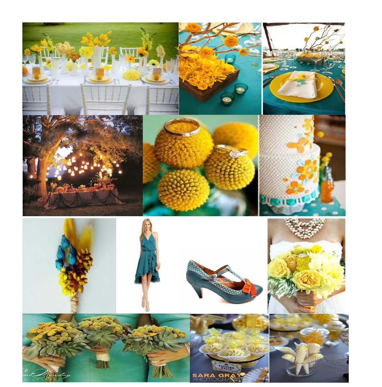 wedding color schemes | Teal & Yellow Color Combinations ...