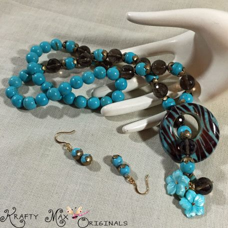 teal and brown front with flower set 1