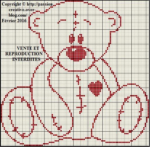 Grille gratuite point de croix nounours silhouette coeur 1 le blog de isabelle point de - Grille point de croix gratuite coeur ...