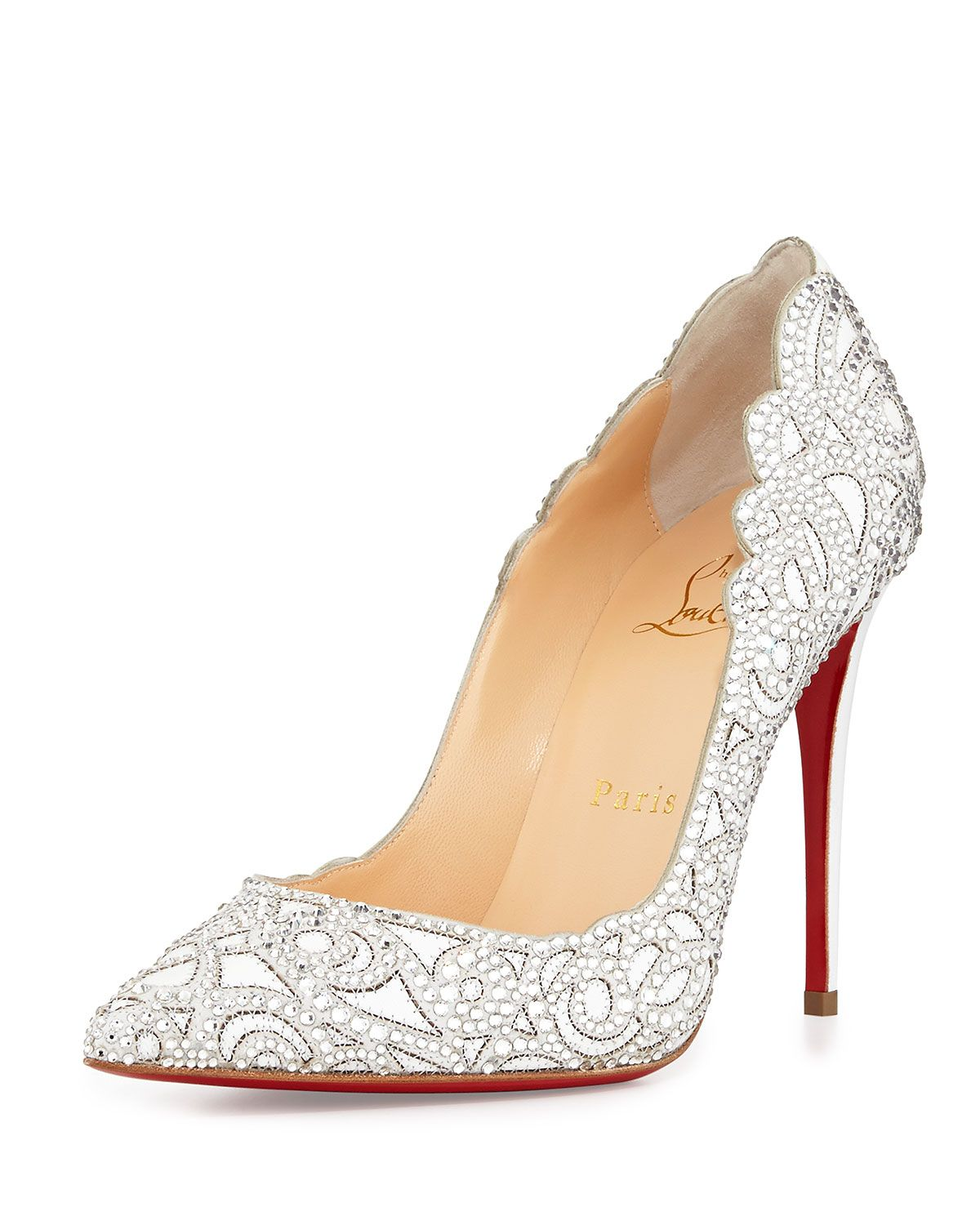 "Christian Louboutin Top Vague Crystal Mesh Pumps. Crystals swirl on the light yet structured mesh vamp of these classically glamorous point-toe pumps. Leather-covered heel, 4"" (100mm). Crystal-embellished mesh upper. Point toe. Leather lining. Signature red leather sole. Padded insole. Made in Italy"