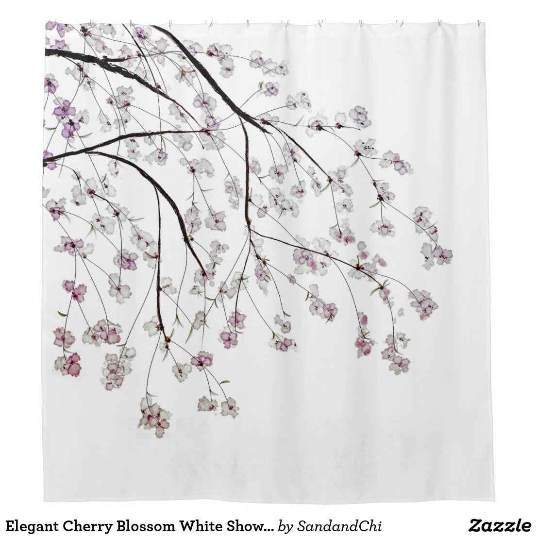 Elegant Cherry Blossom White Shower Curtain Zazzle Com White Shower Curtain White Shower Custom Shower Curtains