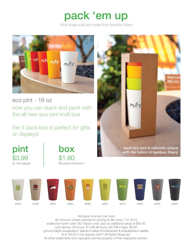 NEW!!! FOUR PACK KRAFT BOXES!    Four of the eco pints stack up perfectly in this gift box! Show off a logo on four of the same colors or mix and match!    Find out more on our website:  http://www.etsexpress.com/product_detail.php?id=p1401    48 piece minimum per color  48 piece minimum per box