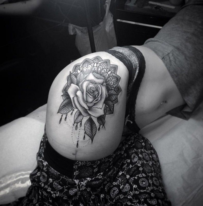 peony and lace tattoo