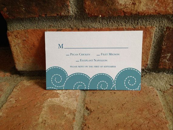 Wedding RSVP Card for Beach Wedding with Waves by FiraPrintables