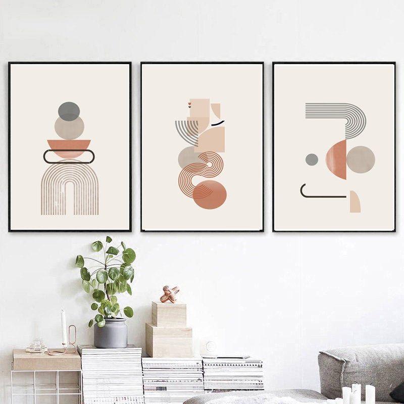 Modern Wall Art Set Of 3 Prints Geometric Line Art Abstract Etsy Wall Art Sets Geometric Wall Art Diy Gallery Wall Art