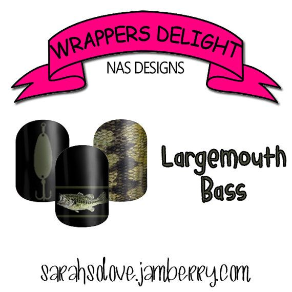 Largemouth Bass Nail Wraps  by Wrapper's Delight NAS Designs