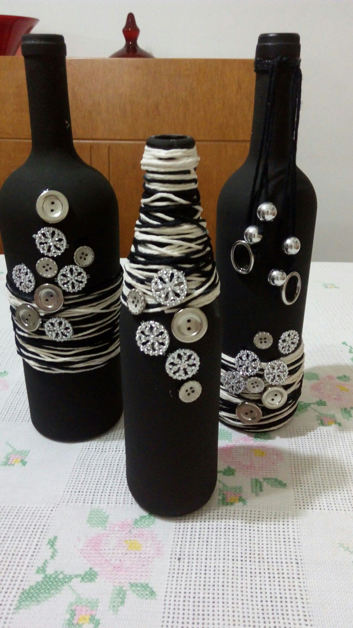 Diy Bottle Pottery Painting Altered Bottles Decorated