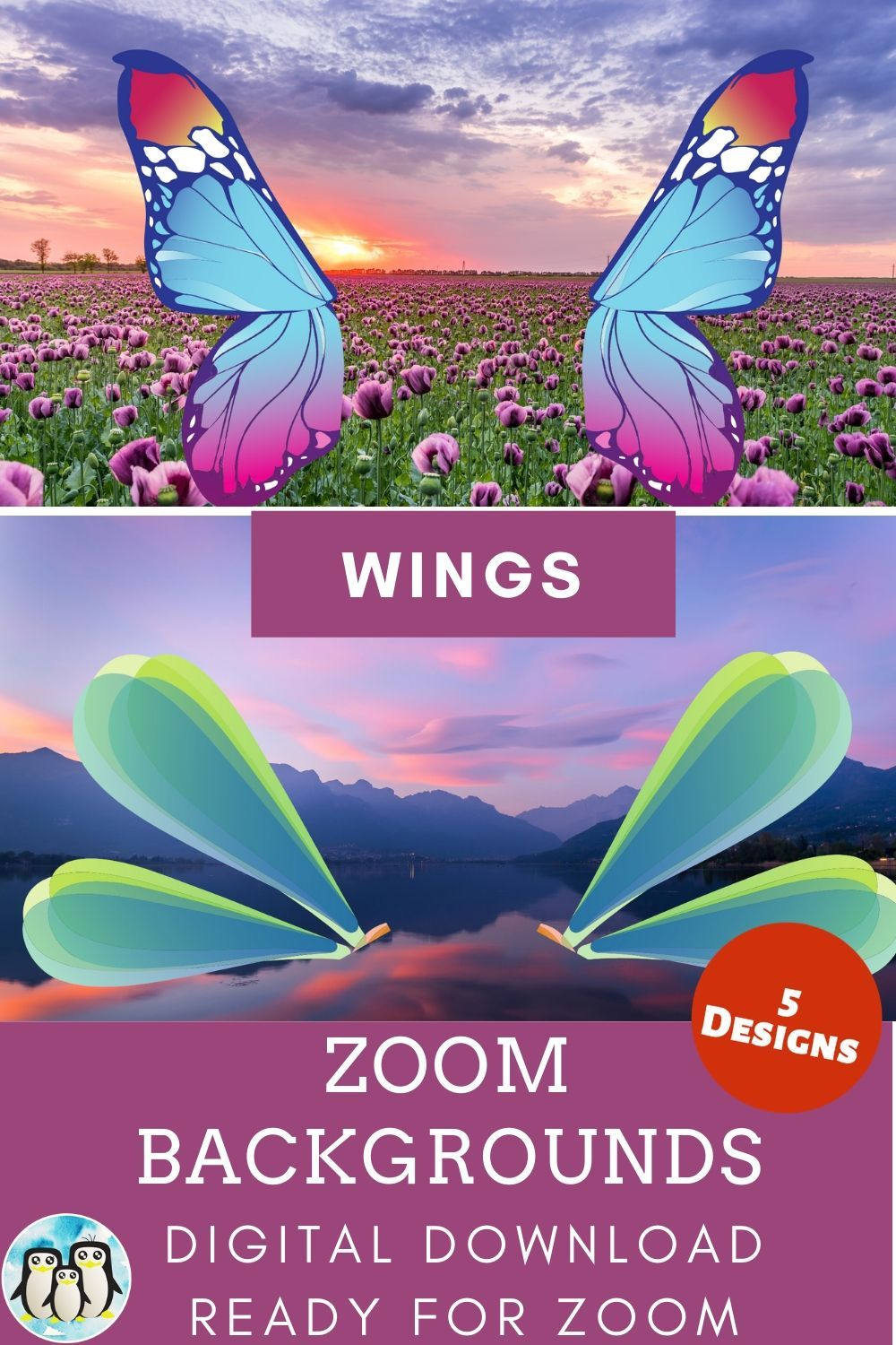 Zoom Virtual Background Bundle Of 5 Wings Inspired Designs Zoom Background Virtual Background Video Conference Backgrounds Cute Gifts For Friends Background Girls Birthday Party Themes