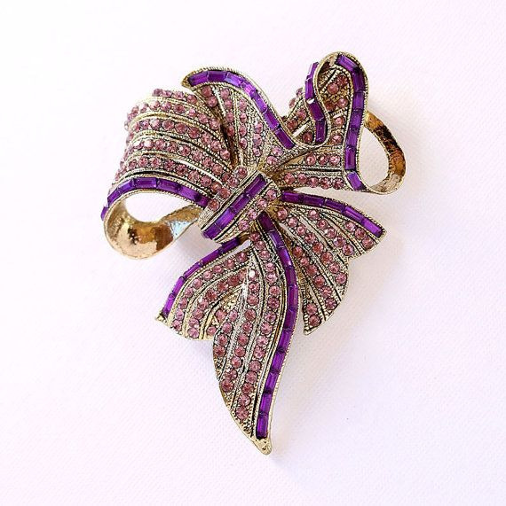 Purple Bowknot Brooch Crystal Amethyst Purple by PinkFoxFindings