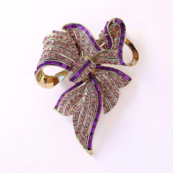 Purple Bowknot Brooch Crystal Amethyst Purple by PinkFoxFindings