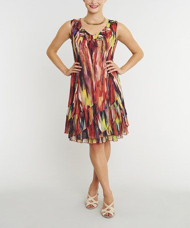 Look what I found on #zulily! Red & Yellow Abstract Sleeveless Dress by Miss Nikky #zulilyfinds