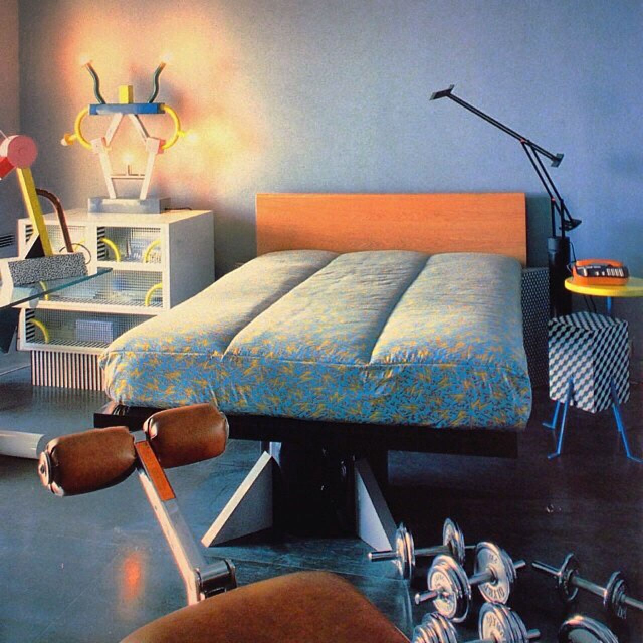 "Bedroom in karl lagerfeld's Monte Carlo flat, ""Italian Style"", 1985 http://thetriumphofpostmodernism.tumblr.com"