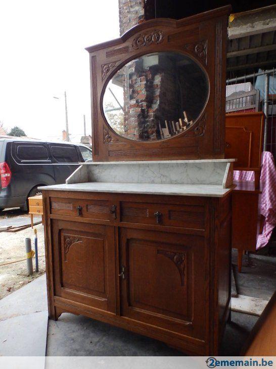 Lavabo coiffeuse en chêne avec son miroir pour patine shabby ...